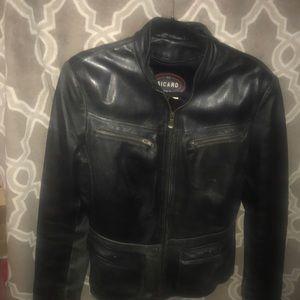 Leather lined moto jacket